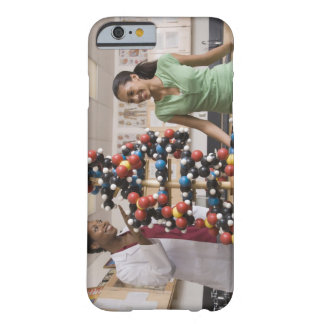 Science teacher and teenage girl looking at barely there iPhone 6 case