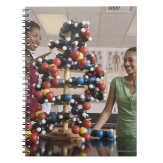 Science teacher and teenage girl looking at notebook