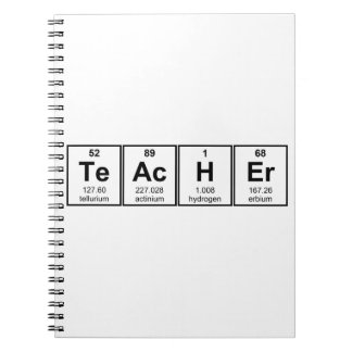 Science Teacher Chemical Elements Spiral Note Book