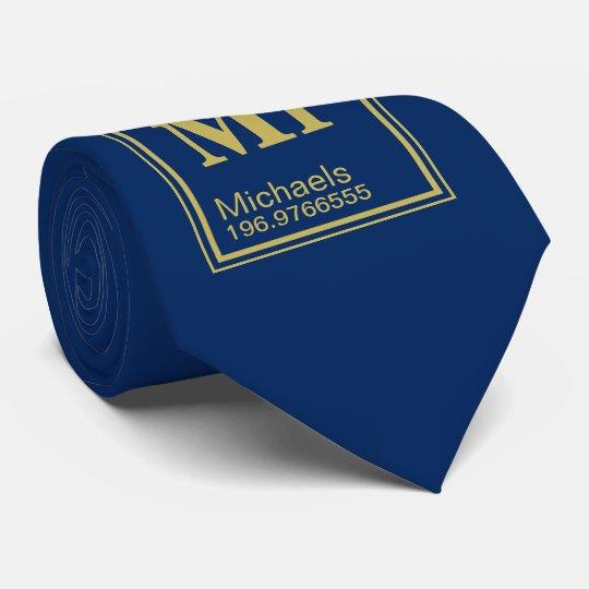 Science Teacher Custom Name Periodic Table Navy Tie