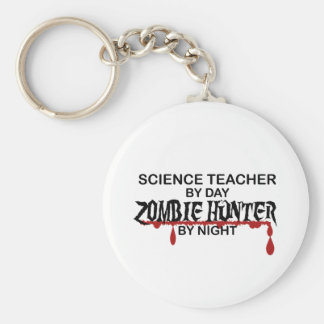 Science Teacher Zombie Hunter Basic Round Button Key Ring
