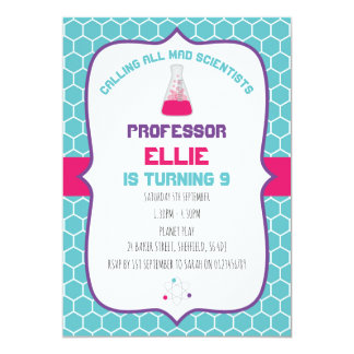 Science themed birthday party invitation