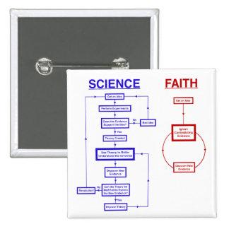 Science vs Faith 15 Cm Square Badge