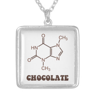 Scientific Chocolate Element Theobromine Molecule Silver Plated Necklace