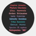 Scientific Classification Round Stickers
