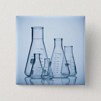 Scientific glassware blue 15 cm square badge