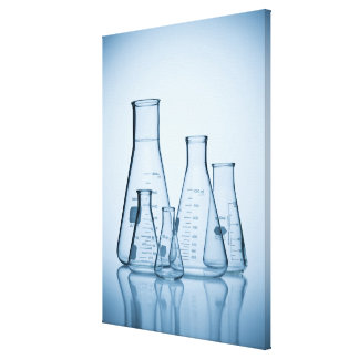 Scientific glassware blue canvas print