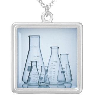 Scientific glassware blue silver plated necklace