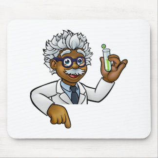 Scientist Cartoon Character Holding Test Tube Mouse Mat