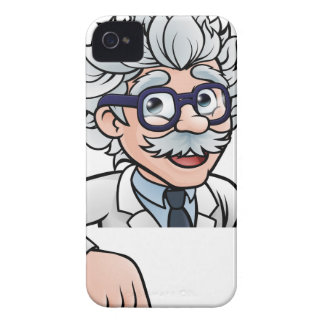 Scientist Cartoon Character Pointing Down iPhone 4 Covers