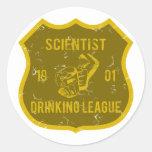 Scientist Drinking League Round Sticker