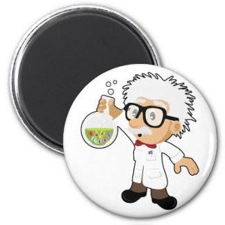 Scientist with beaker 6 cm round magnet