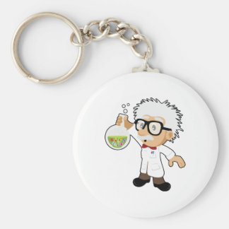 Scientist with beaker basic round button key ring