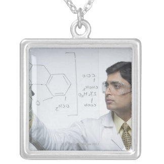 Scientist writing chemical formula silver plated necklace
