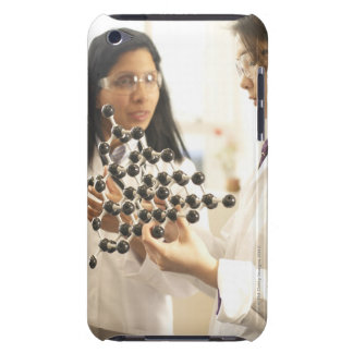 Scientists examining molecular model barely there iPod covers