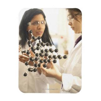 Scientists examining molecular model vinyl magnets