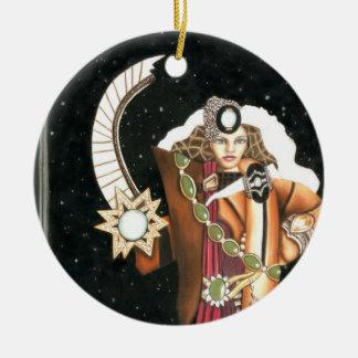SciFi Fantasy Star Princess Warrior CricketDiane Round Ceramic Decoration