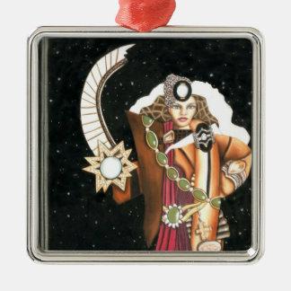 SciFi Fantasy Star Princess Warrior CricketDiane Silver-Colored Square Decoration