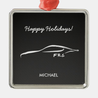 Scion FR-S White Silhouette logo w/ faux carbon Christmas Ornament