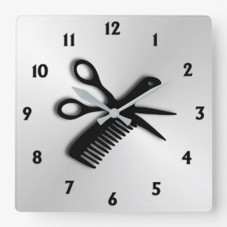 Scissor and Comb Square Wall Clock