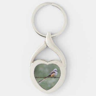 Scissor-tailed Flycatcher perched on barbed wire Silver-Colored Twisted Heart Key Ring