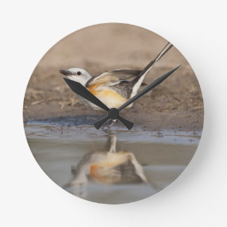 Scissor-tailed Flycatcher reflected in pond Round Clock