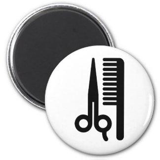Scissors and Comb 6 Cm Round Magnet