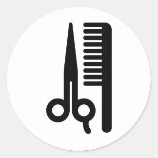Scissors and Comb Classic Round Sticker