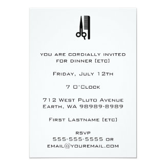 Scissors and Comb Invitation