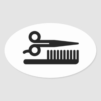 Scissors and Comb Oval Sticker