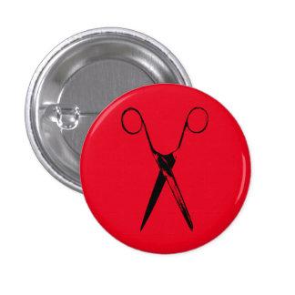 Scissors - black 3 cm round badge