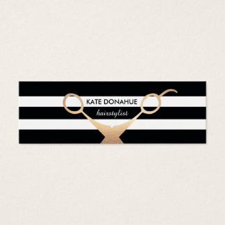 Scissors Black and White Striped Salon Appointment Mini Business Card