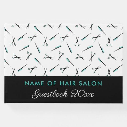 Scissors & Combs Pattern Hair Salon Guest Book