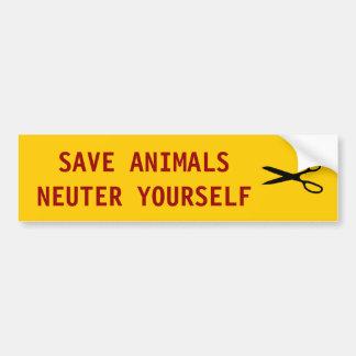SCISSORS SAVE ANIMALS NEUTER YOURSELF BUMPER STICKER