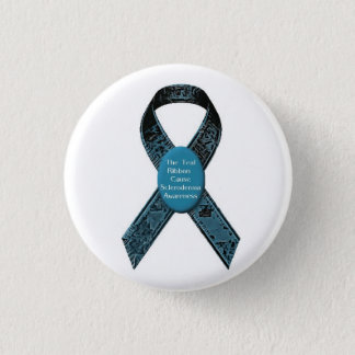 Scleroderma Awareness Camo Teal Ribbon Button
