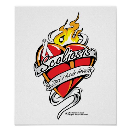 Scoliosis Tattoo Heart Posters