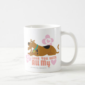"""Scooby Doo """"Love You With All My Heart"""" Classic White Coffee Mug"""