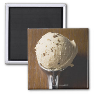 Scoop of ice cream in ice cream scoop (overhead magnet