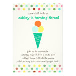 Scoops and polka dots birthday party invitation