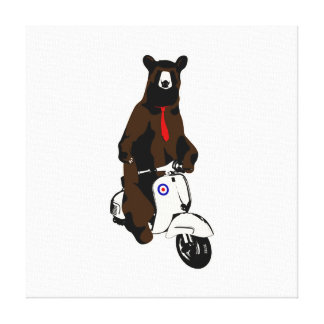 Scooter Bear Stretched Canvas Print