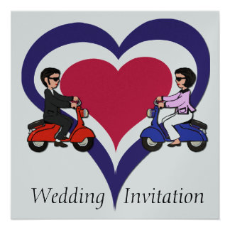 Scooter Boy and Girl mod heart Invitations