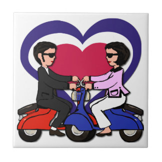 Scooter Boy and Girl on mod love heart Tile
