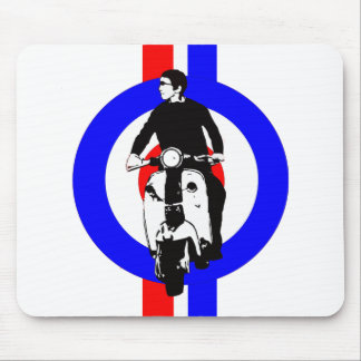 Scooter Boy on target and stripes Mousepads
