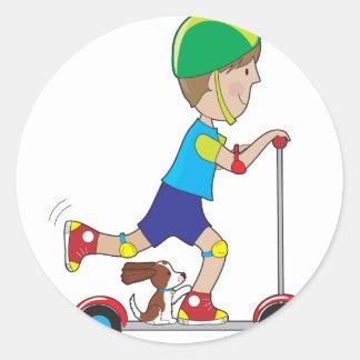 Scooter Boy Round Sticker