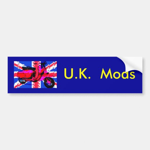 scooter flag , U.K.  Mods Bumper Stickers