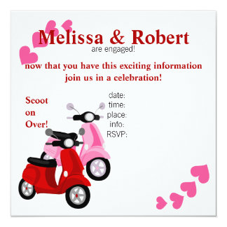 Scooter for two! 13 cm x 13 cm square invitation card
