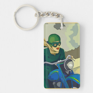 Scooter Girl Double-Sided Rectangular Acrylic Keychain