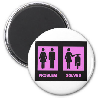 scooter girl no problem pink 6 cm round magnet