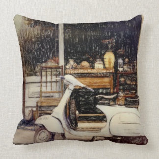Scooter in rustic street throw pillow