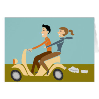 Scooter Lovin Couple Greeting Card